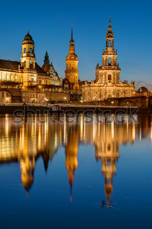 The towers of Dresden at dawn Stock photo © elxeneize