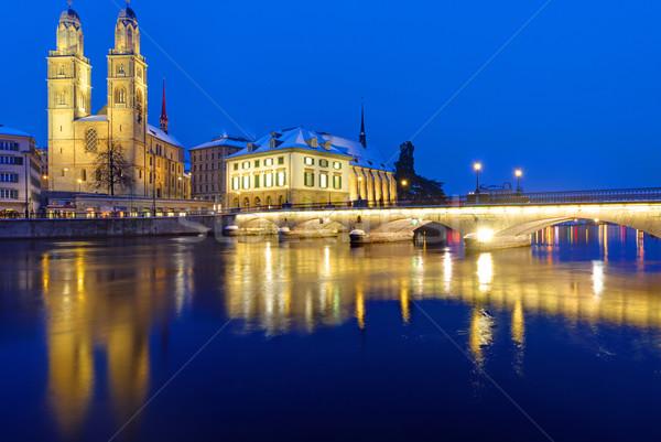 Köprü Zürih kış gece gökyüzü şehir Stok fotoğraf © elxeneize