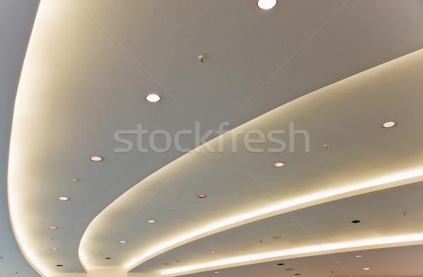 Fehér modern plafon részlet iroda építkezés Stock fotó © elxeneize