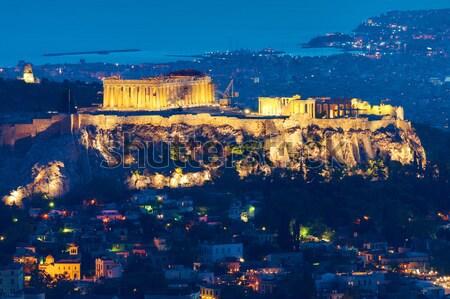 The Acropolis at night Stock photo © elxeneize
