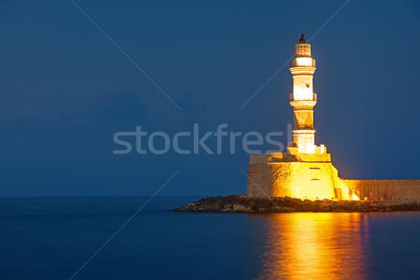 Stock fotó: Világítótorony · éjszaka · sziget · Görögország · víz · felhők