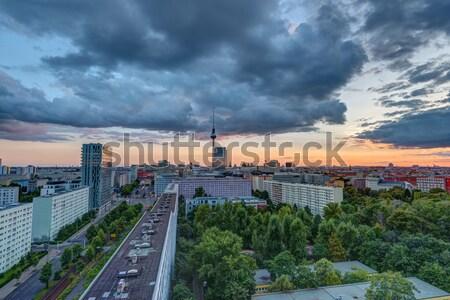 Dramatic sunset in Berlin, Germany Stock photo © elxeneize