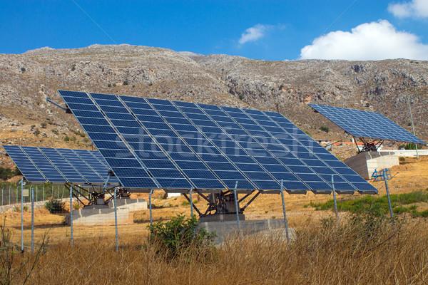 Solar panels on Crete island Stock photo © elxeneize
