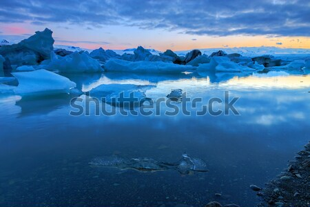 ледник Исландия полночь пейзаж морем снега Сток-фото © elxeneize