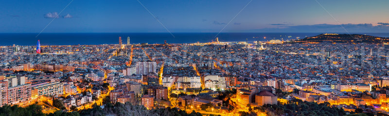 Panorama of Barcelona at dawn Stock photo © elxeneize