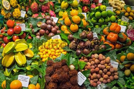 Egzotikus gyümölcsök piac Barcelona banán áruház Stock fotó © elxeneize