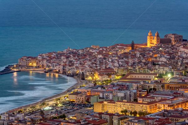 シチリア島 黄昏 北 海岸 水 家 ストックフォト © elxeneize