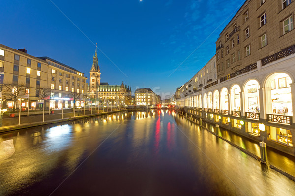 Townhall and Alsterfleet at night Stock photo © elxeneize