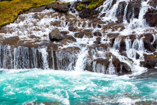 The beautiful Hraunfossar falls Stock photo © elxeneize