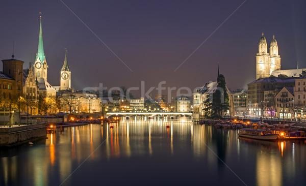 Panorama Zürih gece kış iş Bina Stok fotoğraf © elxeneize