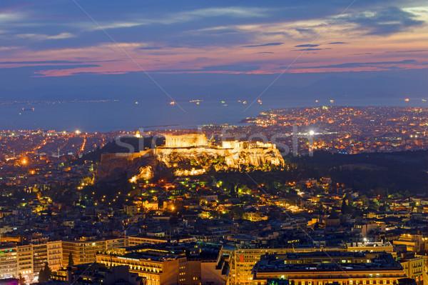 Ver Atenas madrugada céu nuvens pôr do sol Foto stock © elxeneize