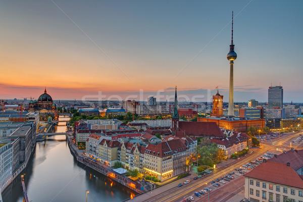 日没 タウン ベルリン 有名な テレビ 塔 ストックフォト © elxeneize