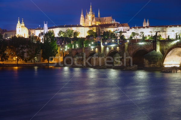 Beautiful Prague at night Stock photo © elxeneize
