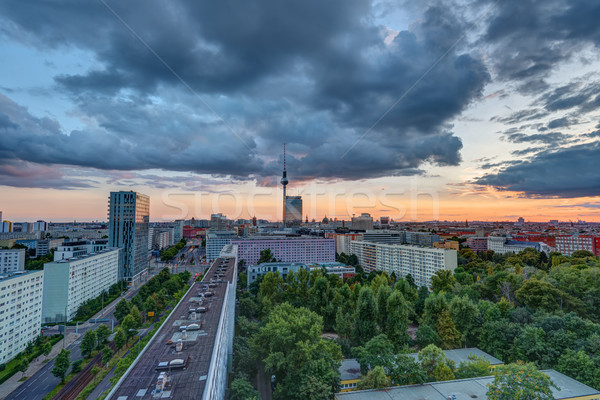 Dramatic sunset in Berlin, Germany Stock photo © elxeneize