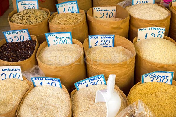 Inny ryżu sprzedaży rynku żywności czerwony Zdjęcia stock © elxeneize