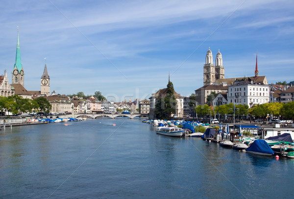 Zurich and the Limmat river Stock photo © elxeneize