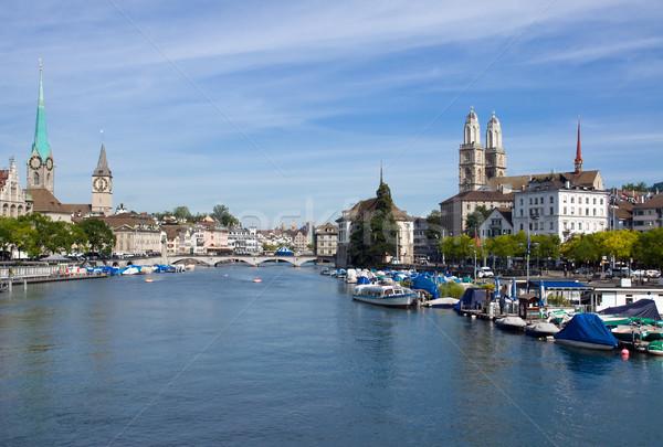Zürich folyó kilátás üzlet épület építkezés Stock fotó © elxeneize