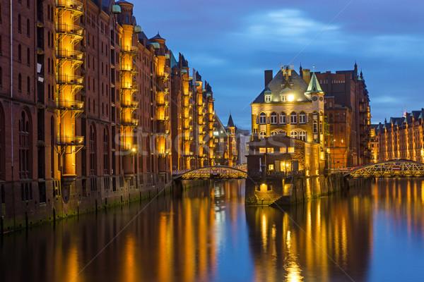 The old Speicherstadt in Hamburg Stock photo © elxeneize