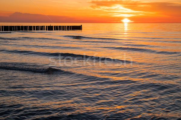 Pôr do sol mar báltico belo mar beleza oceano Foto stock © elxeneize