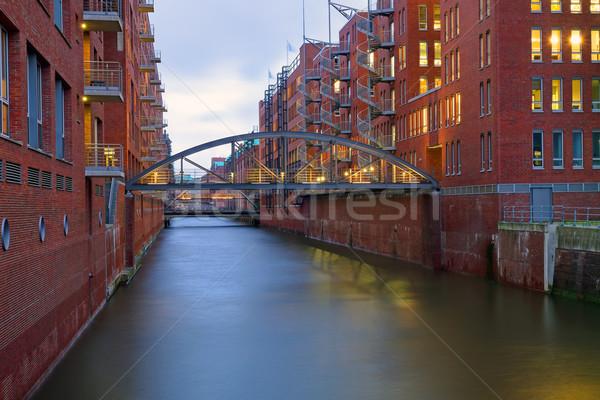 ハンブルク チャンネル ドイツ 家 市 建設 ストックフォト © elxeneize