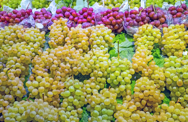Green and red grapes for sale Stock photo © elxeneize