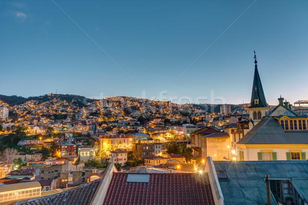 View over Valparaiso at night Stock photo © elxeneize