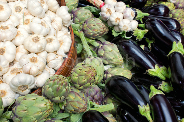 Garlic, artichokes and aubergines Stock photo © elxeneize