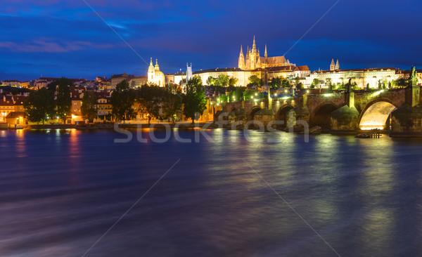 Prag gece köprü kale su şehir Stok fotoğraf © elxeneize