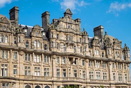 épület Edinburgh részlet Skócia égbolt nyár Stock fotó © elxeneize