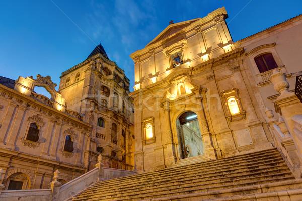 Oude barok stad nacht sicilië hemel Stockfoto © elxeneize