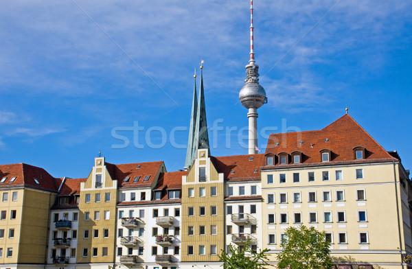 Berlin híres televízió templom épületek piros Stock fotó © elxeneize