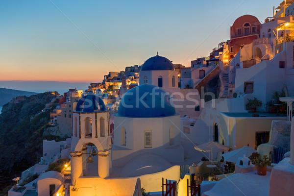 Detaliu zori sat santorini insulă apus Imagine de stoc © elxeneize
