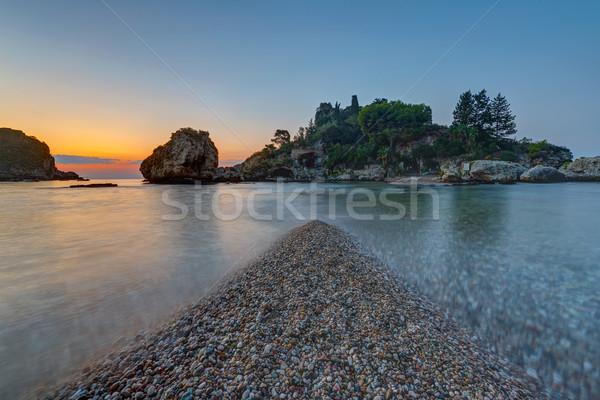 Szicília alkonyat kicsi tájkép zöld kő Stock fotó © elxeneize