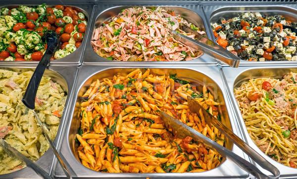 Verschillend buffet ei peper lepel rechter Stockfoto © elxeneize