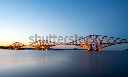 Ray köprü gün batımı ünlü İskoçya gökyüzü Stok fotoğraf © elxeneize