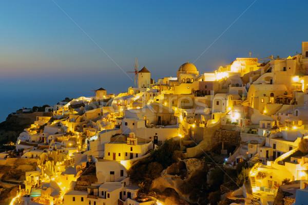 Santorini isola notte bella cielo acqua Foto d'archivio © elxeneize