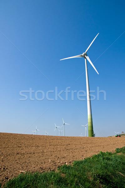 Terméketlen mező csetepaté áll mögött természet Stock fotó © elxeneize