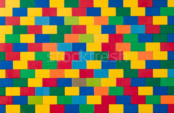 Toy brick wall in different colours Stock photo © elxeneize