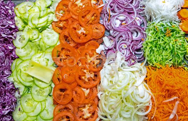 Kleurrijk salade buffet voedsel gezondheid dienst Stockfoto © elxeneize