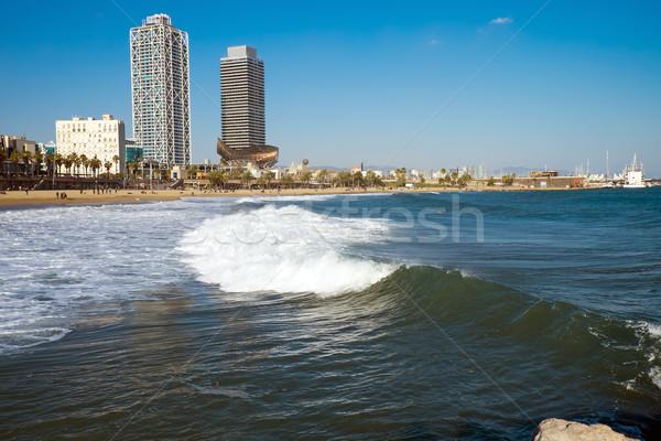 Waves at a beach in Barcelona Stock photo © elxeneize
