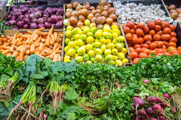 Choice of fresh vegetables for sale seen at a market Stock photo © elxeneize