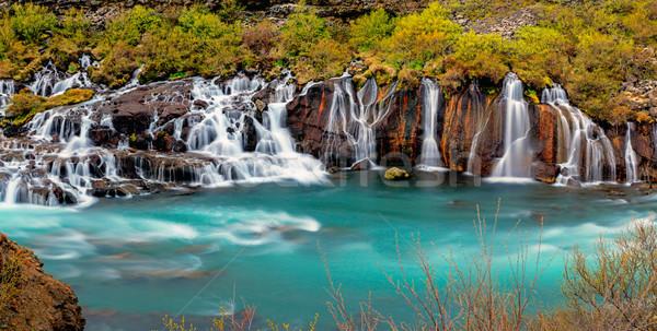 Panoráma tájkép mező kék kő vízesés Stock fotó © elxeneize