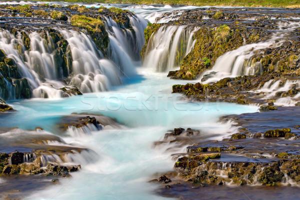 Detalle fantástico cascada Islandia azul viaje Foto stock © elxeneize