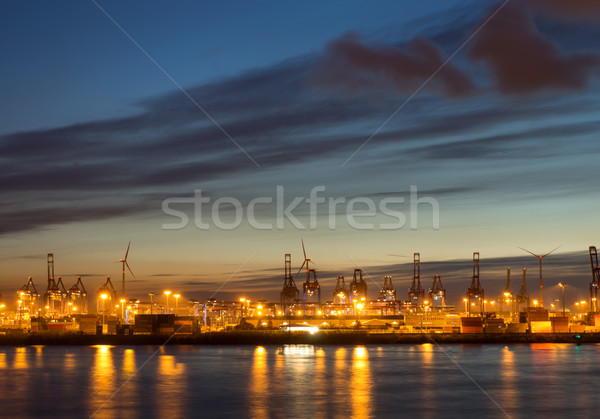 Cranes and containers in Hamburg Stock photo © elxeneize