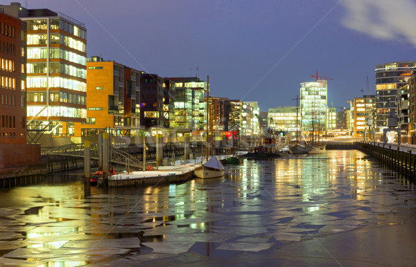 Stock photo: Icy winter night in the Hafencity