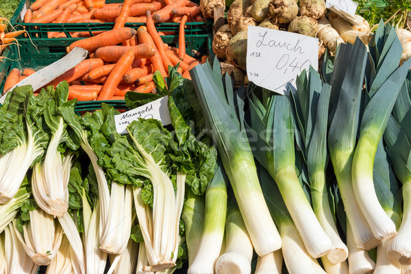 Leek, mangold and carrots for sale Stock photo © elxeneize