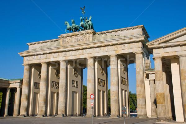 ストックフォト: ブランデンブルグ門 · ベルリン · 有名な · 建物 · 太陽 · 抽象的な