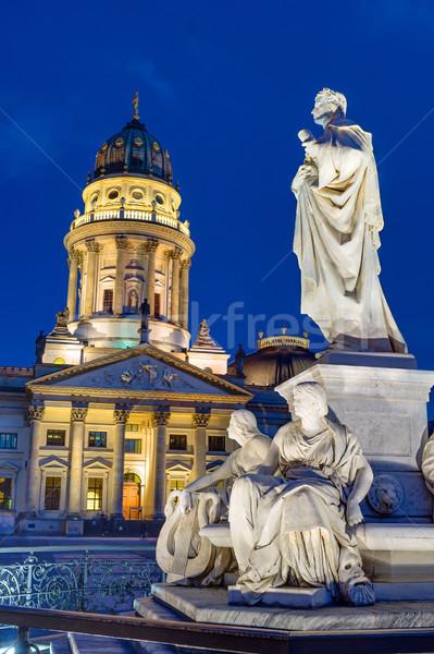 Church and statue of Schiller Stock photo © elxeneize