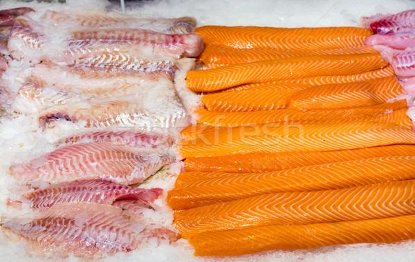 Fresh salmon and cod filet Stock photo © elxeneize