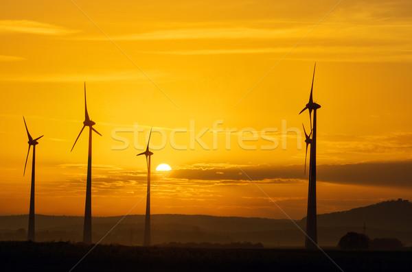 Windwheels and sunset Stock photo © elxeneize